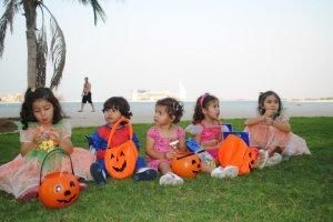 Enjoying their first Halloween in Dubai
