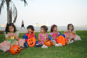 Enjoying their first Halloween in Dubai