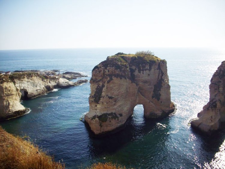 Pigeon's Rock from the Beirut Corniche