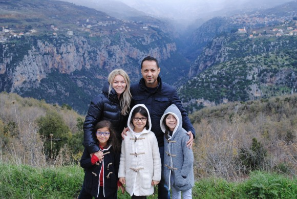 With my husband and children admiring the breathtaking view of the Qadisha Valley