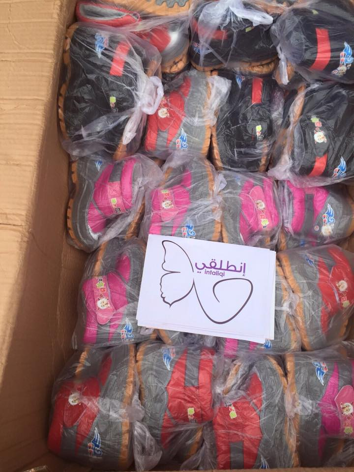Shoes are delivered for children in refugee camps