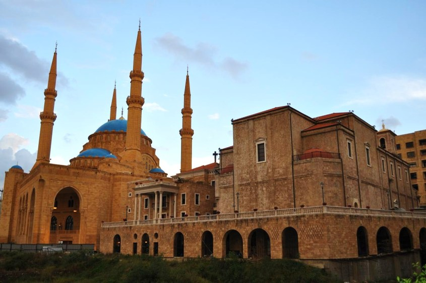 Where else in the world you see a mosque and church side by side?  Mohamed Al Amin Mosque in Beirut